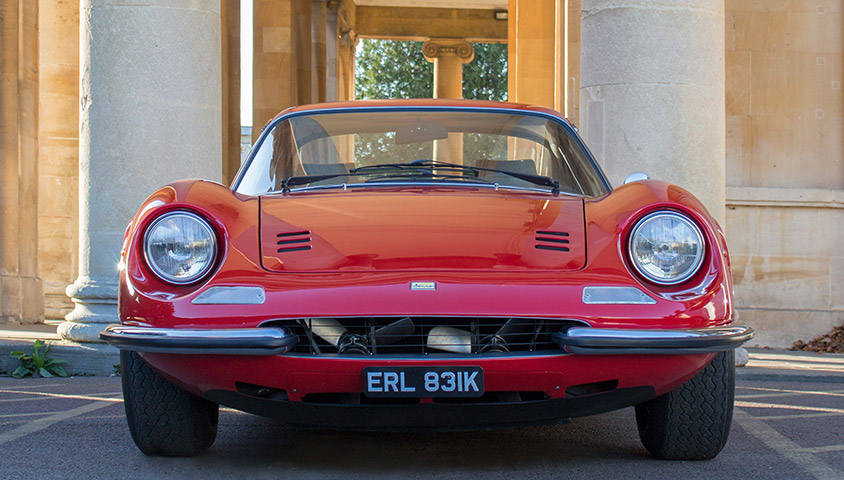 The 1972 Ferrari Dino 246 GT in a suitably luxurious setting