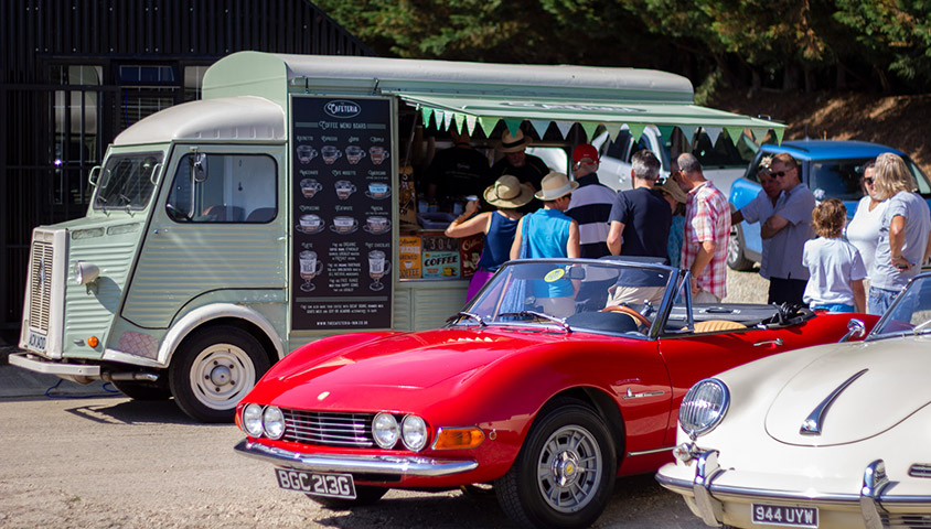 Coffee and Classics Roundup 2018 - Dexters Coffee with Fiat Dino and Porsche 356